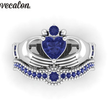 Vecalon Lovers Blue Birthstone claddagh ring 5A Zircon Cz White gold filled Engagement wedding Band ring Set for women men Gift