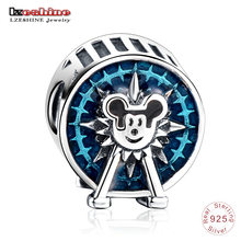 LZESHINE New 925 Sterling Silver Blue Enamel Ferris Wheel, Miki House Charms Beads fit Original Bracelets Jewelry Making P0835