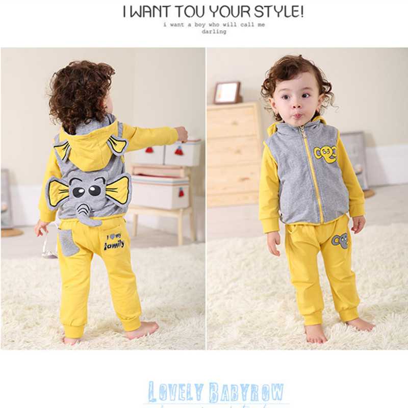 Anlencool Roupas Infantil Meninas free Shipping Brand Baby Clothes Sets Youngster Three-piece Cotton Fabric Elephant Clothing<br>