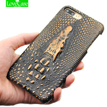 6s 7Plus Soft leather back cover case for iPhone 7 Plus 6 6S Plus Cell Phone Luxury 3D Crocodile Retro Hard Shell Cover Case(China)