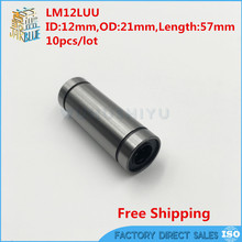 10pcs/lot Free Shipping LM12LUU 12mm long type linear ball bearing 12mmx21mmx57mm for 12mm shaft cnc part(China)