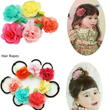 5 PCS/lot Chiffon Fabric Floral Hair Clips Ropes Hairpins Kids Hair Accessories