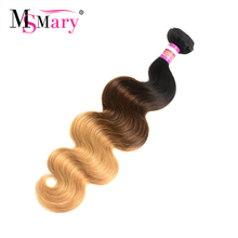 Ms Mary 1B 4 27 Three Tone Ombre Color Body Wave Weave 1 Bundle per Lot Cheap Remy Human Hair Bundle Free Shipping(China)