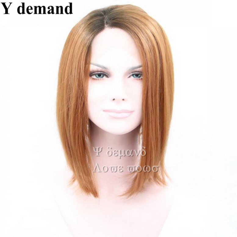 In Stock 5 Clolors brown /red/ blue/bug/gray Bob wigs Synthetic lace Front Bob Wigs for Black Women<br><br>Aliexpress