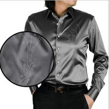 High quality long sleeves dress shirt for men new fashion Men Slim fit Hot Diamond Butterfly Flower Silk Shirt plus size S-5XL(China)