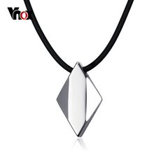 Vnox Punk Men's Choker Necklace Pure Tungsten Carbide Rhombus Necklaces & Pendants Free Black Chain 46cm(China)
