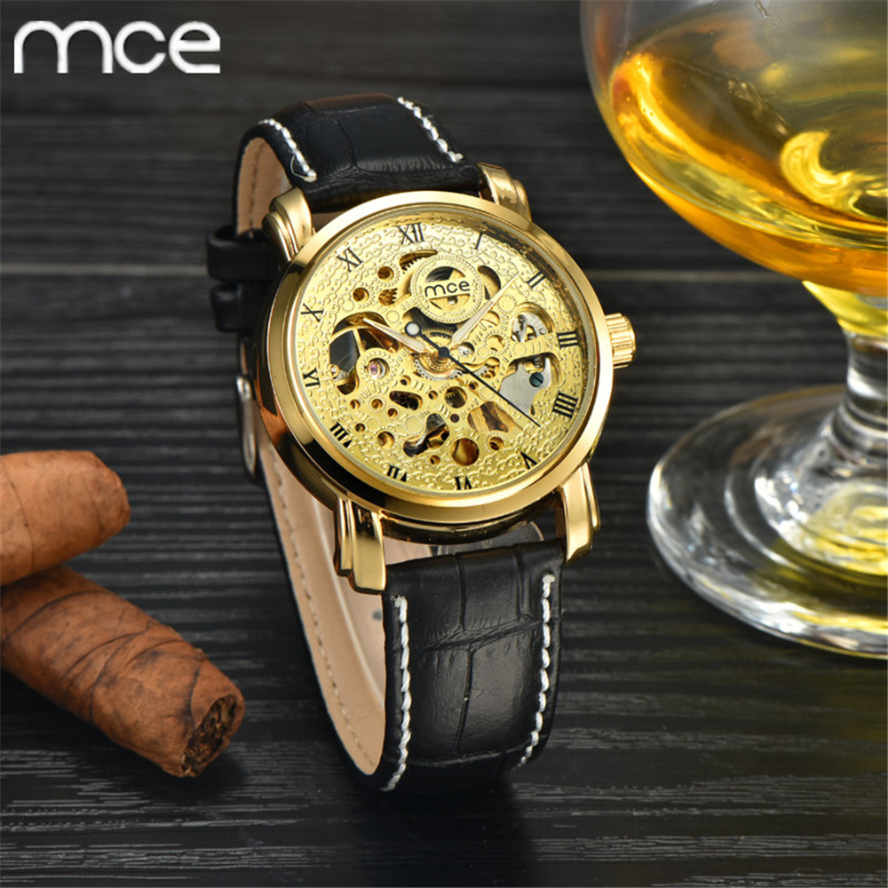 MCE New Luxury brand watch Skeleton Male Clock Leather Strap Steampunk Fashion Casual Watches Relogio Masculino Mechanical Watch<br><br>Aliexpress