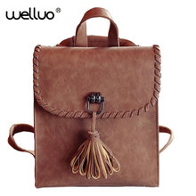 2017 New Round Tassels Women Backpack Female PU Leather Women's Backpacks Girls Bags Retro Lady Hot School Street Bags HotXA191B