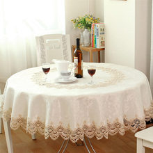 Big sale European Garden embroidered Round tablecloth dining table cover for wedding cabinet cushion package elegant table cloth(China)