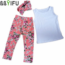 BBYIFU Girls Summer Sets New Chidren's Clothing Kids Clear Sleeveless Shirt + Long Pants Casual Suit Baby Girl Cloth Set