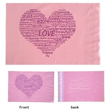 Size: 28*42cm, pink love heart plastic shipping envelopes , pink mailing envelopes ,printed heart poly mailers(China)