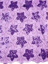 Nigerian Quality Manufacturers of Double Organza Lace with Purple Flower KS968-05(China)