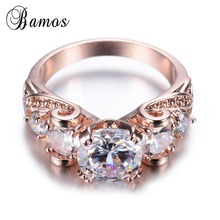 Shiny New Trendy Women Lady White Zircon Finger Ring Rose Gold Filled Wedding Party Enagement Ring Bijoux Valentine's Day RR0004(China)