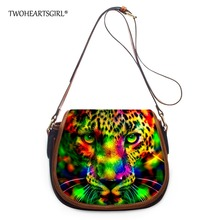 TWOHEARTSGIRL Fashion Neon Leopard Bag for Women Designer Organizer Shoulder Bags with Inner Pocket PU Leather Crossbody Bags(China)