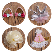 10 pcslot , Cute Dresses Crown Flower non slip Hair Clip, Felt embroidery barrette(China)