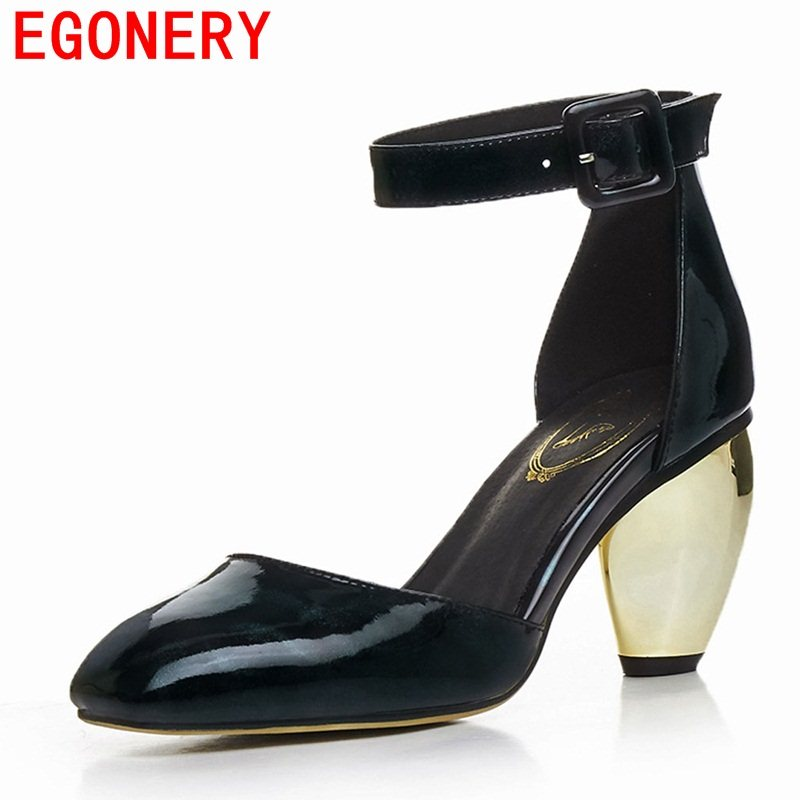 EGONERY shallow pumps woman high heels 207 summer new style genuine leather two piece shoes good quality patent leather pumps<br>