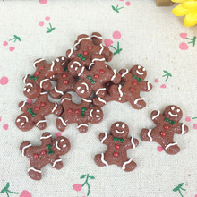 10Pieces Flat Back Resin Cabochon Gingerbread Christmas DIY Flatback Embellishment Accessories Scrapbooking Decoration:25*30mm(China)