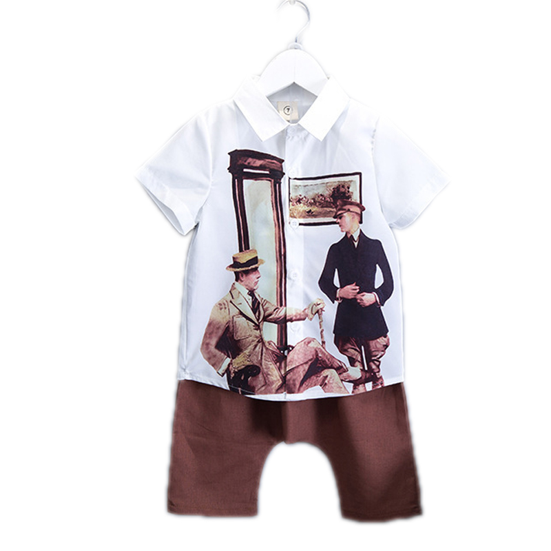 summer boys clothing sets 2017 new boy clothes sets top vintage short sleeve character blouse+casual collapse boys summer sets<br><br>Aliexpress