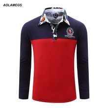 Aolamegs Polo Long Sleeve Men Contrast Color Camouflage Collar Polo Shirt Homme 2017 New Cotton Camisa Polo Masculino Plus Size
