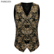 Luxury Gold Printed Vest Men 2017 Brand New Night Club Mens Suit Vest Casual Slim Fit Men Waistcoat Wedding Formal Dress Vests