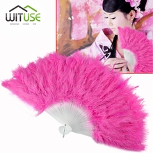 WITUSE 10 Colors Classic Wedding Party Supplies Fancy Costumes For Women Showgirl Feather Fans Folding Dance Hand Fan 10pcs/lot(China)
