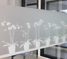 Non-adhesive Window Film Long-lasting Quick DIY 45 x 200 cm Easily Remove Etched Butterfly Orchid Decoration for UV Rejection(China)