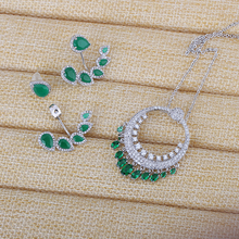 Very Girl Milky Green Stone Wedding Jewelry Sets Cuff Earrings For Women Unique Bohemia Silver Plated Necklace Brincos