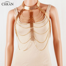 CHRAN Statement Multilayer Metal Chain Waist Necklace Wholesale Gold Color Women Neck Accessories Charming Sexy Body Chain