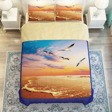 Flying Seagull Sunset Beach Bedding Sets Twin Queen King Size Duvet Cover Bed Covers Soft Polyester Fabric for Single&Double Bed(China)