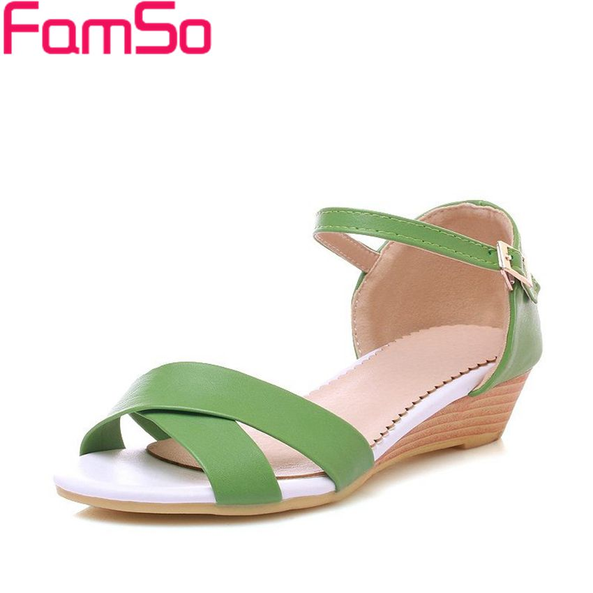 Free shipping 2017 New Fashion Women Wedges sandals 3Colors Summer Female Ankle Strap Sandals Casual Platforms sandals  FS249<br><br>Aliexpress