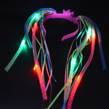 Party Light-Up Hair Extension Braids Headband LED Flashing Rave Braid Halloween Props Glow Party Supply