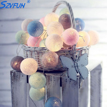 Szvfun 3m 20 Globe String Lights Battery LED Garland Lights Warm White Thai LED Cotton Ball Light Chain Party Christmas Lights(China)