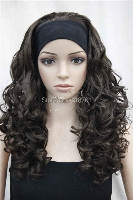 Half wig 3/4 wigs With headband Long Curly Synthetic Hair Wig many colors for you choose Free shipping<br><br>Aliexpress
