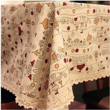 HBZ27 tablecloth table cover cloth linen natural cartoon fabric rectangle squre beige napkin city Illustration castle napkin