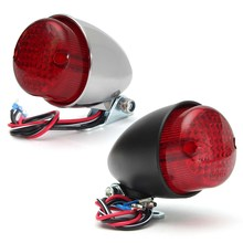 Universal 12V Motorcycle Tail Light LED Motorbike Rear Light For Harley Cruiser Chopper Chrome Black
