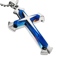 2016 New Men's Cool 3 Layer Cross Stainless Steel Cross Pendant Free Chain Necklace Accessories Cross Necklace free shipping
