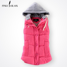 Pinky Is Black Autumn Winter Fashion Cotton Vest Women Patchwork Sleeveless Hooded Collar Casual Coat Colete Feminino Waistcoat(China)