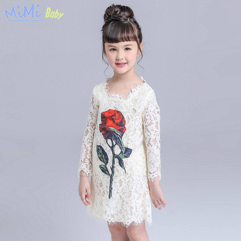 Girls Dresses 2017 Spring Clothing for Girls Long Sleeve Lace Straight Type Hollow Out Girl Dresses Rose Printing Princess Dress<br><br>Aliexpress