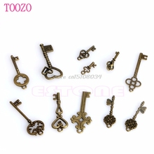 New 11Pcs Antique Vintage Pendant 45615Heart Bow Lock Steampunk Old Look Skeleton Key Set S08 Drop ship(China)