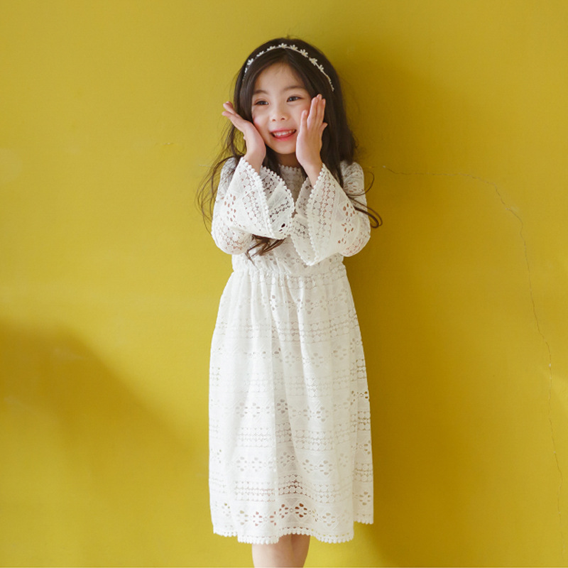 Girls White Lace Dresses Party Wear Ruffle Sleeves Ivory Crochet Princess Dress for Children Age 5678910 11 12 13 14 Years old<br>