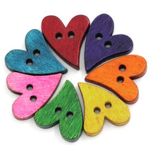 FUNIQUE 100PCs Wood Buttons Decorative Buttons For Children DIY Scrapbooking Craft Sewing Accessories Mixed 2 Holes 21 x 17mm(China)