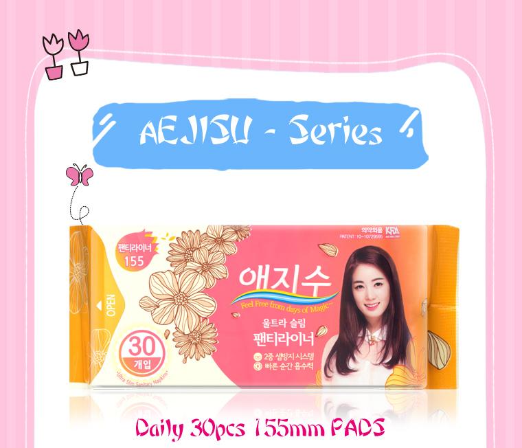 Korea 6pcs AEJISU organic cotton heavy flow over Night Sanitary Napkins pad 3mm feminine hygiene products menstrual towel pads 32
