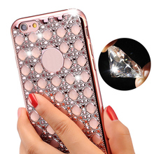 For iPhone 6 6s Rose Gold Bling Glitter Plating Diamond Phone Case For iPhone 6 6S 7 Plus Soft TPU Back Cover for iPhone 5 5s se