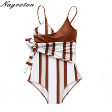Buy Sexy Striped tie women swimsuit one piece swimwear beach swimming suit bandage bodysuit push monokini 2019 Bathing Suit