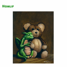 HOMLIF 5D diamond embroidery diy diamond Painting pictures diamond mosaic gift diamond picture home decor Dragon and teddy bear(China)