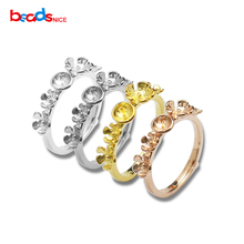 Beadsnice Solid Silver 925 Finger Ring Base with Pin and Flowers Engagement Rings fit 5mm Round Setting for women ID31044(China)
