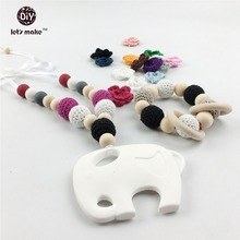 Let's make 2pc Baby Silicone BPA Free Necklace Jewelry Wooden Crochet Beads Woman Fashion Elephant Shaped wood teether toy