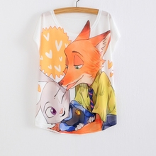 Summer Women's Clothing T shirt Women Zootopia T-shirts for women Nick fox and Judy Rabbit print shirt cute cartoon Tops Tees