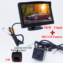 Free shipping,Parking Assistance System 2 in 1 5inch  Digital TFT LCD Mirror Car Monitor + 170 Degrees Mini Car Rear view Camera