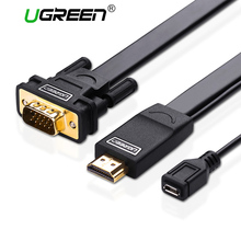 Ugreen 1080P HDMI to VGA cable adapter Digital to Analog Male To Male converter for Laptop TV box Projector PS3 Xbox360 , Black(China)